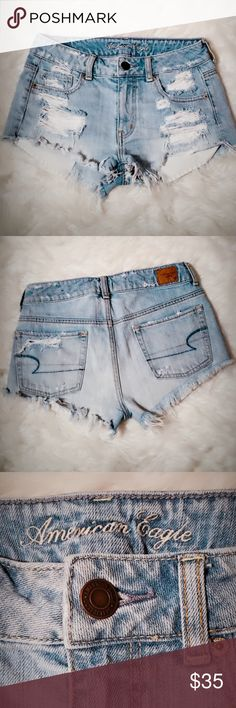 American Eagle Shorts . So cute & right on trend. Keeping you looking good in the destroyed Denim Shorts by American Eagle. If flattery is your game then you will defiantly be the winner in these shorts.  No Trades. 0734 American Eagle Outfitters Shorts Jean Shorts