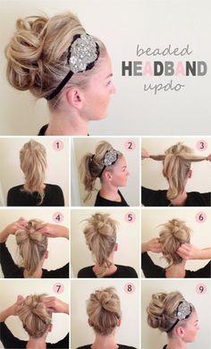 Beaded Headband Updo | 10 Beautiful & Effortless Updo Hairstyle Tutorials for Medium Hair by Makeup Tutorials at http://makeuptutorials.com/10-beautiful-effortless-updo-hairstyle-tutorials-medium-hair/