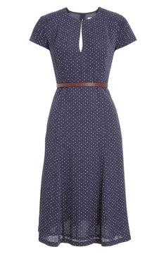 Dot Print Silk Twill Belted Dress
