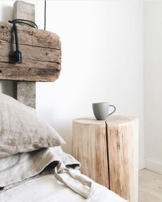 This Tree trunk stump table - Scandinavian style wooden side table is just one of the custom, handmade pieces you'll find in our furniture shops. Tree Stump Side Table, Tree Trunk Table, Wooden Side Table, Diy Side Tables, Log Side Table, Trunk Side Table, Minimalist Nightstand, Wooden Furniture, Outdoor Furniture