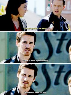 """Never trust silly stuff. Rum would never do that"" - Killian, Regina and David Abc Tv Shows, Best Tv Shows, Best Shows Ever, Movies And Tv Shows, Once Upon A Time Funny, Once Up A Time, Ouat Episodes, Maine, Captain Swan"