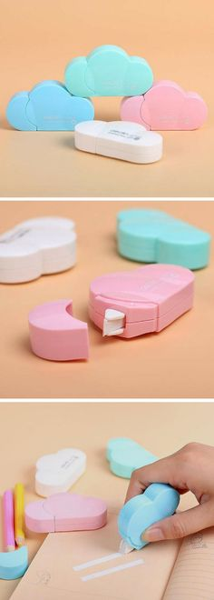 Cloud correction tape. This is so pretty! Love the pastel colors. I wouldn't even know it was white out tape until you open it. I love my pretty stationery and this would fit right in. Kinda want one of every color to make a display like in the picture haha. #ad #kawaii #stationery #cloud #pastel