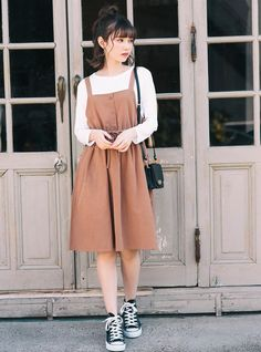 Pin by Zexal Princess on Comfy outfits in 2020 Modest Dresses, Modest Outfits, Skirt Outfits, Casual Outfits, Korean Outfits Cute, Cute Fashion, Modest Fashion, Look Fashion, Fashion Dresses