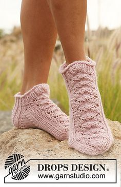 Hand Knitted light pink wool short socks by BeautifulSunrise, £16.00