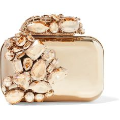 Jimmy Choo Cloud crystal-embellished metal clutch ($5,530) ❤ liked on Polyvore featuring bags, handbags, clutches, borse, gold, sparkly handbags, clasp handbag, bridal purse, jimmy choo and bride purse