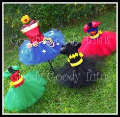 Super simple: Super hero tutu costumes for little girls by Goody Tutus - so adorable! Batman, Robin, Superman, Wonderwoman.