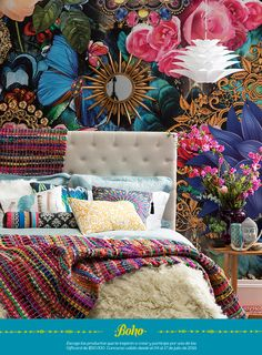 Accent Wall, Home, Boho Decor, Bed, Nyc Apartment, Eclectic Modern, Boho, Home Deco, Deco