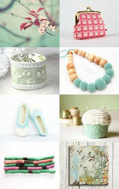 Mint and Pink  by Elena on Etsy-  http://www.etsy.com/shop/elenasfelting
