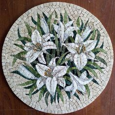 Marble Mosaic White Lilies Round Lily Painting Round Wall - Marble Mosaic White Lilies Round Lily Painting Round Wall Decor Marble Gift Decorative Tiles Panno Roman Mosaic Flowers Lily Picture Ask A Question Mosaic Artwork, Mosaic Wall, Mosaic Tiles, Mosaic Mirrors, Marble Mosaic, Stone Mosaic, Mosaic Glass, Stained Glass, Mosaic Crafts