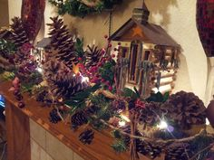 Rustic mantle Christmas decoration Natural