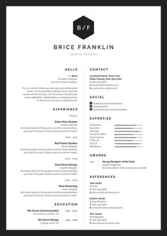 B&W resume with 2 columns
