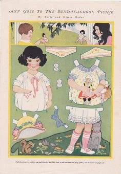 Kathleen Taylor's Dakota Dreams: Thursday Tab- Dolls by Berta and Elmer Hader-Ann Goes to the Sunday School Picnic Newspaper Paper, Old Paper, Paper Art, Paper Crafts, Doll Toys, Baby Dolls, Dolls Dolls, Vintage Playmates, Paper Doll House