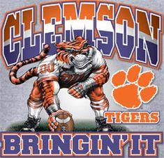 Clemson Tigers Football T-Shirts - Bringin It - Three Point Stance - Unique College T-Shirts Clemson Football, Clemson Tigers, Football Run, Tigers Baseball, Football Stadiums, College Football, Football Decor, Auburn Tigers, Fussball T Shirt
