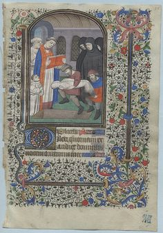BOOK OF HOURS LEAF Ref 138 recto Office of the Dead Buriel    The text is the opening of the Office of the Dead (for the Use of Paris)