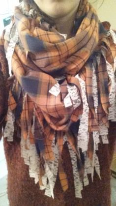 DIY Flannel // Lace Fringe Infinity Scarf