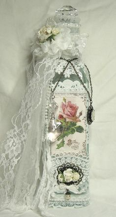 Shabbypinkhouse's Gallery: Shabby Chic Altered Bottle for Martica's Swap