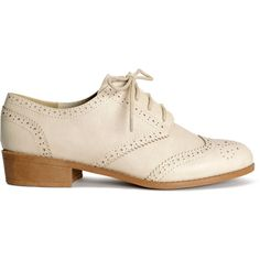 H&M Brogues (1.140 RUB) ❤ liked on Polyvore featuring shoes, oxfords, flats, brogues, h&m, oxford, light beige, h&m brogues, oxford flats and h&m oxford