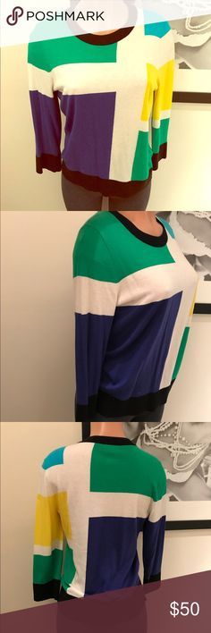 Colorblocked sweater KATE SPADE ♠️ XL (but runs small; fits like a M/L)♠️black/white/blue/green/yellow, color blocking pattern, crew neck, 3/4 length arms-- thin & sweet! This sweater can actually be worn year round as it's not that heavy! Perfect for light/chilly nights in the spring/summer & pair with a collared shirt underneath for the winter months! Adorable, love this sweater so much! EUC, worn 1x kate spade Sweaters Crew & Scoop Necks
