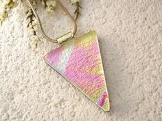 Golden Pink Necklace  Fused Glass Pendant  Dichroic by ccvalenzo