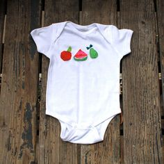 Organic Fruits Onesie: Recycled and Upcycled clothing for the boho baby and trendy toddler. Your child will at once be eco-conscientious and earth-friendly when wearing these 100% organic goods from My Little Aura. Getting your kids dressed was never so fulfilling.  now featured on Fab.