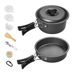 Buy Gonex Camping Cookware Set Mess Kit, Backpacking Gear Cooking Equipment Stackable Portable Non Stick Pot Pan Cook for Outdoors Hiking Backpacking Gear, Camping And Hiking, Nylons, Casseroles, Outdoor Survival Gear, Survival Tips, Cooking Bowl, Cooking Equipment, Cookware Set