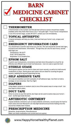 Barn Medicine Cabinet Checklist www.happyhorsehealthyplanet.com
