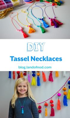 Try your hand at making our own DIY Tassel Necklaces. The bright colors almost promise that Spring is on its way! Kids Necklace, Girls Necklaces, Tassel Necklace, Jewelry Necklaces, Anklet Jewelry, Toddler Necklace, Baby Necklace, Necklace Set, Kids Jewelry