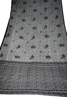 Indian Culture Vintage 100% Pure Silk Saree Black & White Color Beautiful Abstract Design Printed Sari Craft Fabric