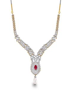 Pearl and Ruby Diamond Necklace.Beauty and divinity like moon, a beautiful piece of jewellery, pure and serene, A neckalce set in 18 kt yellow gold and 3.59 carat diamonds..... - See more at: http://www.diamonds4you.com/item/21310062.aspx#sthash.cHG28Pdt.dpuf #diamonds #diamondjewellery #diamonds4you #jewellery #onlinejewellery