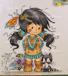 """Heather's Hobbie Haven: Just for Fun... Wee Stamps image called """"Lomasi""""  Copic Markers Used: Outline: C0 Ground: W2, W1 Skin: E21, E00, E000 Hair: N9, N7, N5, N3 Dress/Boots: E33, E31, E30 Dress Accents/Hair Ties/Head Band: BG18, BG13, BG11 Bells: Y28 Leaves: G99, G43, G40 Flowers: B02, B000  -  V17, V000   Center: Y19 Raccon: N9, N7, N5, N3  White: C0 Ears/Nose: R20 Feathers/Beads/Boot Straps/Head Band: YR14, YR12 - BG18, BG13, BG11"""