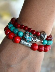 Set of 3 Boho Beaded Stretch Bracelets withTibetan Bead Accents Kodi likes