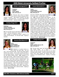 Softball Profile Sample Player Profile Central
