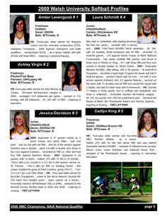 softball profile template