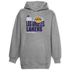 adidas Los Angeles Lakers Youth Stacked Extreme Hoodie - Gray - $39.99
