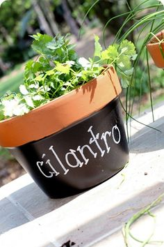 pots and chalkboard paint