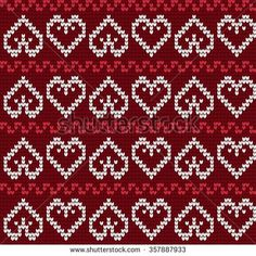 Ornamental Pattern For Knitting And Embroidery Heart Stock Photos, Images, & Pictures Fair Isle Knitting Patterns, Knitting Charts, Knitting Stitches, Knitting Designs, Knit Patterns, Cross Stitch Patterns, Motif Fair Isle, Fair Isle Pattern, Fair Isle Chart