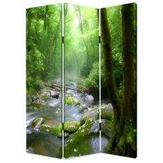 This is a 3 panel screen printed on canvas. The screen is two sided with different and complementary images on each side. It is light-weight and very easy to move. The screen also has inspirational wall decor applications.