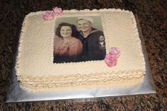 The Was Made For Our Family Reunion The Pic Was Of The Grandparents Now Both Deceased When They Were First Married French Vanilla Cake  on Cake Central