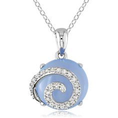 Ice Silver Diamond, Blue Chalcedony Pendant ($270) ❤ liked on Polyvore featuring jewelry, pendants, necklaces, accessories, siobhan, women's accessories, silver pendant, blue diamond jewelry, diamond swirl pendant and charm pendant