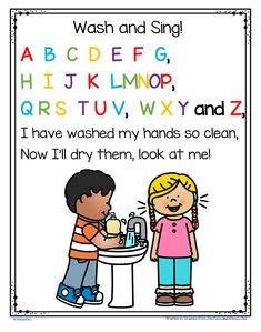 FREE Wash Your Hands and Sing the ABC Song – Poster in Color and B-W Tape the poster beside the bathroom sink and encourage children to sing the whole song while washing their hands. Hand Washing Song, Hand Washing Poster, Beginning Of School, First Day Of School, Pre School, Preschool Songs, Kindergarten Classroom, Kindergarten Songs, Montessori Elementary