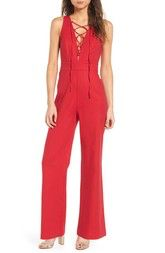 dc44f0705f2 Wayf WAYF Cara Lace-Up Jumpsuit available at  Nordstrom Red Jumpsuit