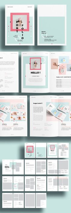 Available at Adobe Stock, this modern and fresh portfolio template makes your creative work a real eye catcher