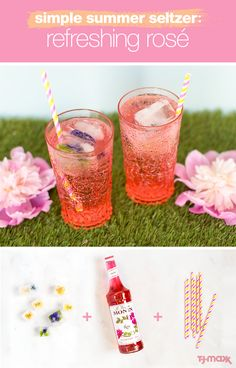 Looking for a healthy alternative to soda and sugary drinks this summer? Just add a few tablespoons of syrup purchased at T.J.Maxx to your seltzer. Then finish with unexpected extras, like these edible flower ice-cubes. You can find fun glasses and all the finishing touches like party straws and more at T.J.Maxx.