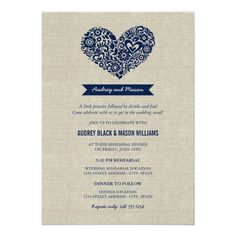 Wedding Rehearsal and Dinner | Navy Rustic Card