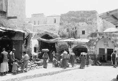 باب العمود - مدخل السوق ، القدس - فلسطين 1900م The door of the entrance to the column - market, Jerusalem - Palestine 1900 m