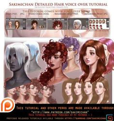 How to paint hair Detailed . Voice over tutorial. by sakimichan on @DeviantArt