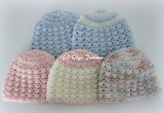 Preemie Baby #Crochet Hats by @olgalacycrochet