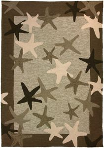 Starfish Field 5 x 7 Indoor-Outdoor area rug.  Great neutral design for the #coast   #beach #decor