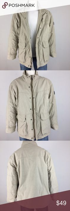Aigle Khaki warm lining jacket - XXL Khaki jacket with quilted warm inner lining, full zip up and four front pockets. Pre-owned but still in excellent condition with minor hardly noticeable tiny stain in the jacket. It's so barely noticeable the camera did not pick up the small stains in the pictures. great jacket.   Underarm to Underarm 27.5 in. flat Shoulder to Shoulder 22 in. flat Sleeve 25 in.  Length 34.5 in. Aigle Jackets & Coats Military & Field