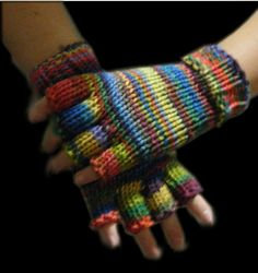 Loom knit half-finger gloves video tutorial